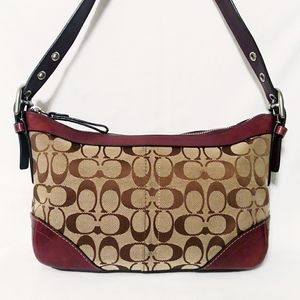 Coach Khaki Canvas Leather Hobo Bag